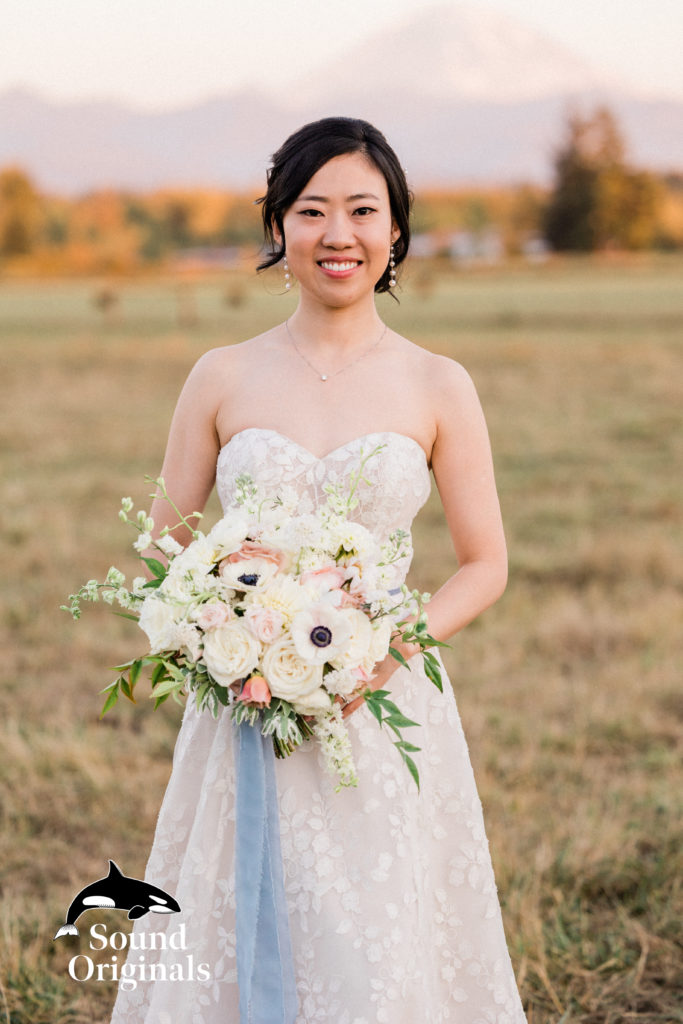 gorgeous bride in wedding dress at Mountain View manor wedding