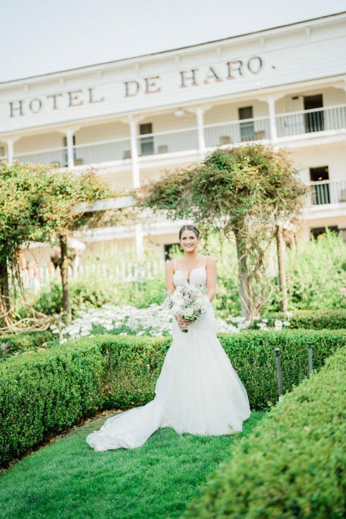 bride in wedding dress on San Juan island wedding