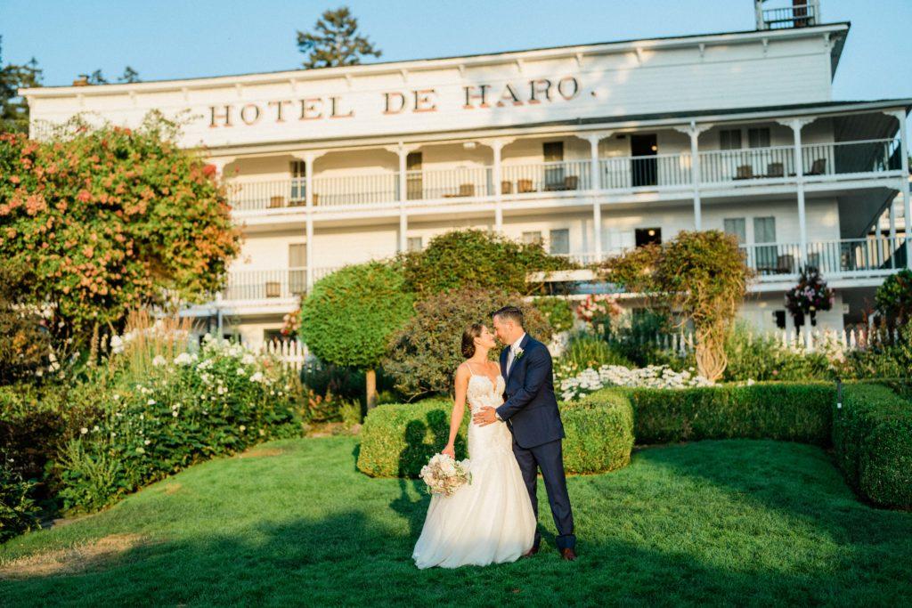 romantic couples portraits at Roche Harbor Resort wedding