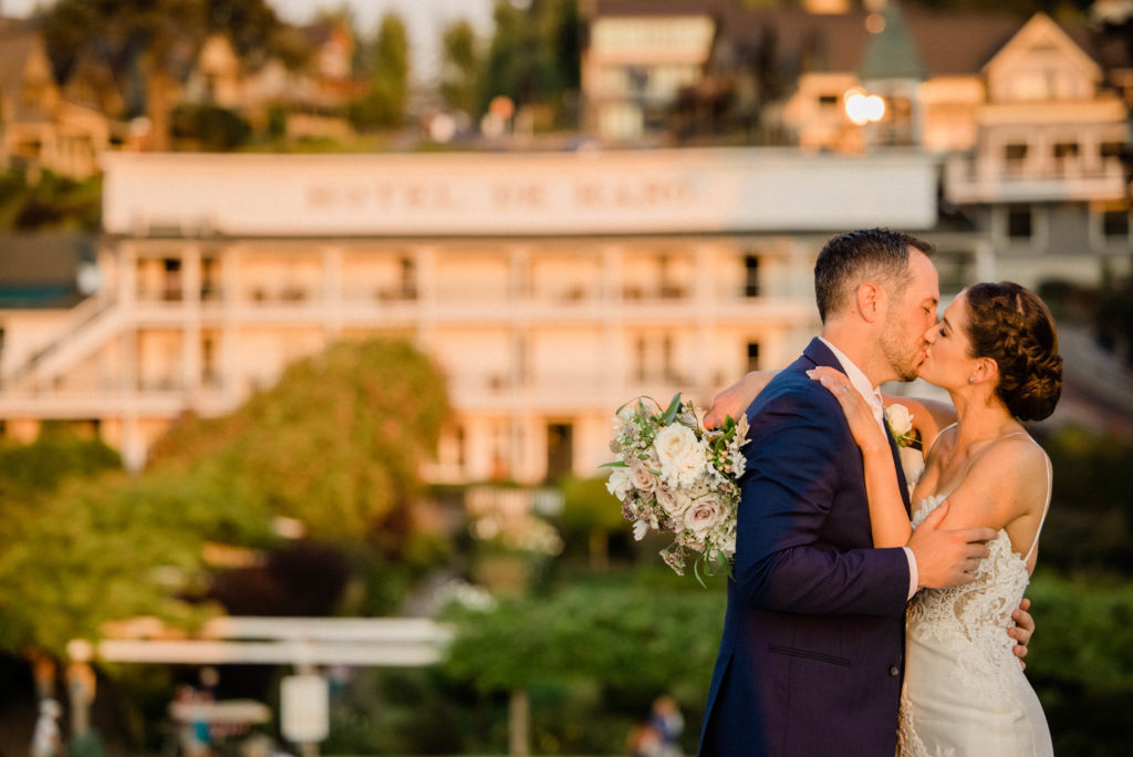Roche Harbor Resort wedding photos of couples posing at sunset