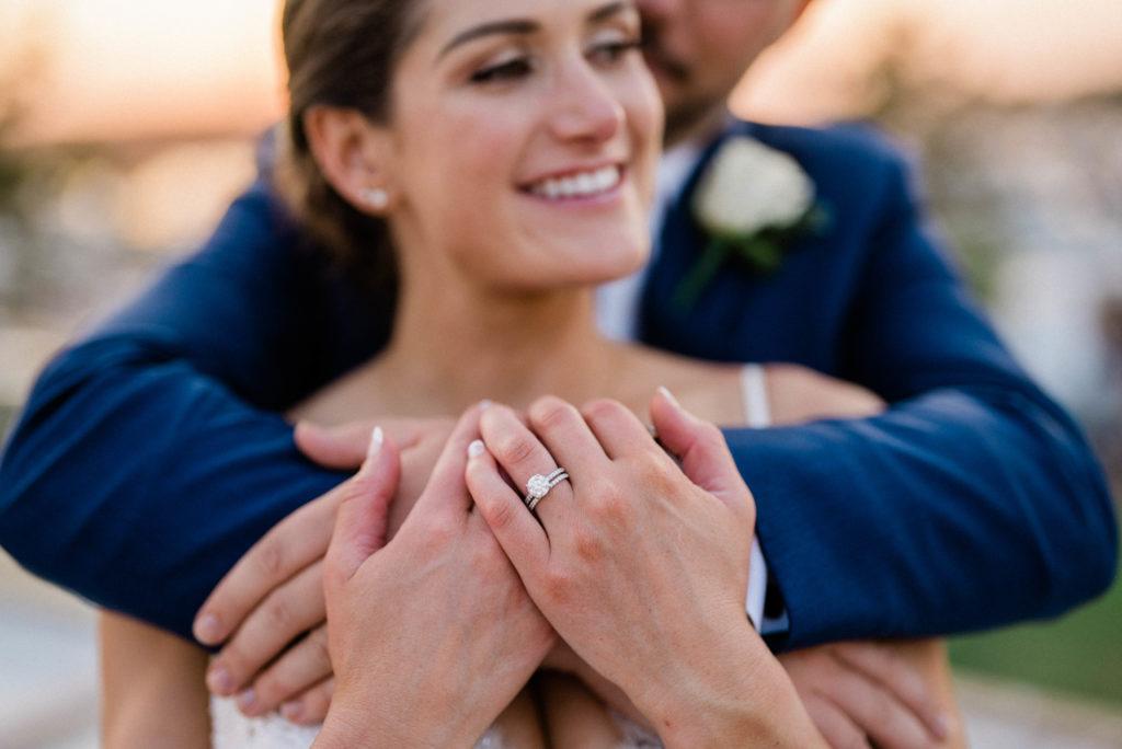engagement ring in Roche Harbor Resort wedding photo