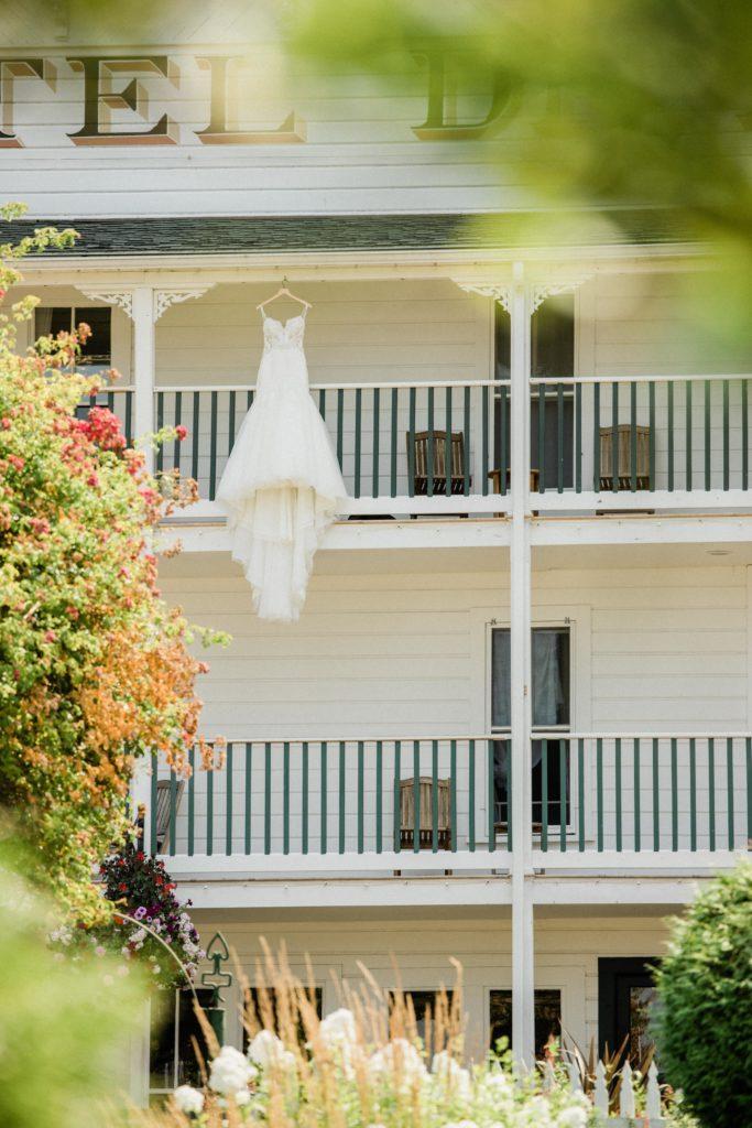 Roche Harbor Resort wedding photo of bride's white dress and veil