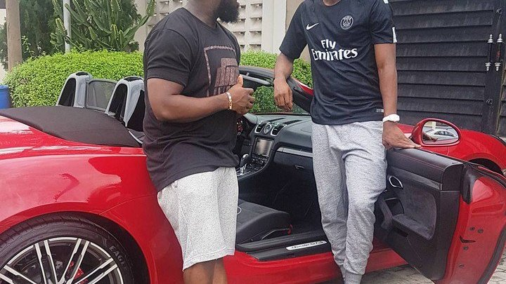 """""""My Son Came Through With The New Whip"""", Patoranking Visits Timaya With His New Porsche (Pictures)"""