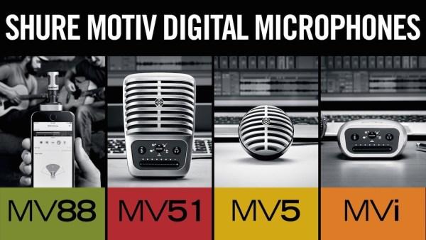 SHUREがiOSやAndroidデバイスなどでのレコーディングに対応したマイクとオーディオインターフェイスを発表