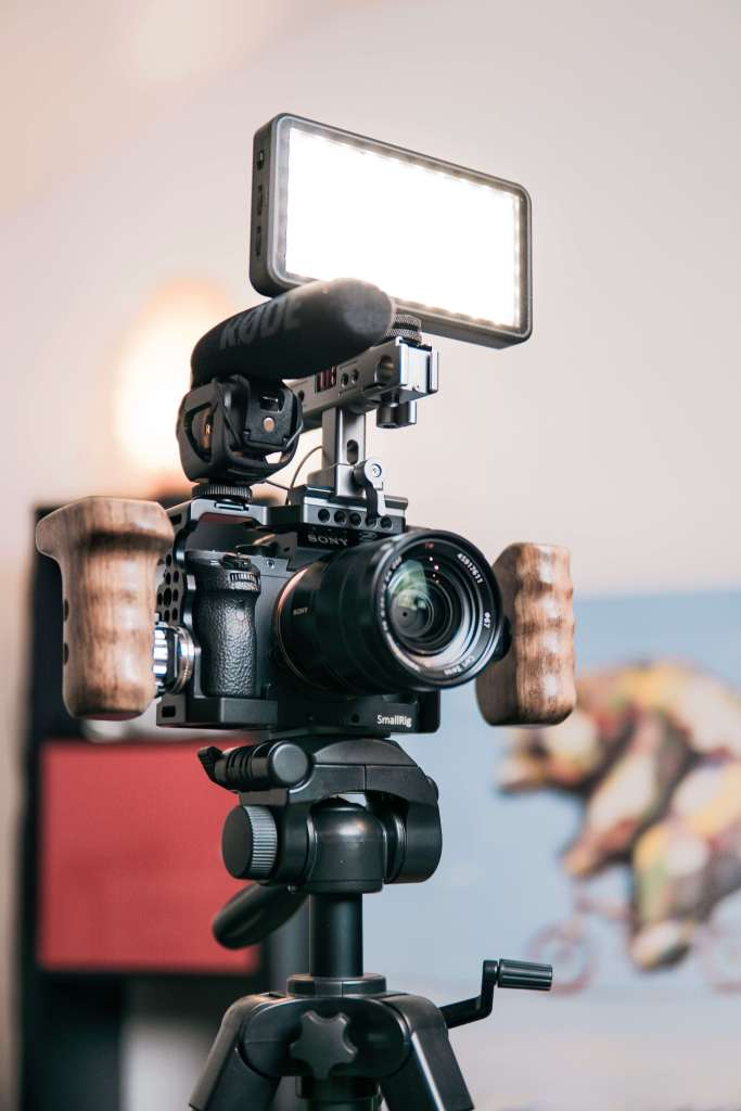 Camera, microphone, and light