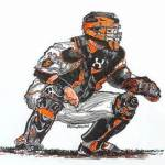 buster posey caricature catching