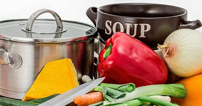 Vegetables, and a pot labelled SOUP
