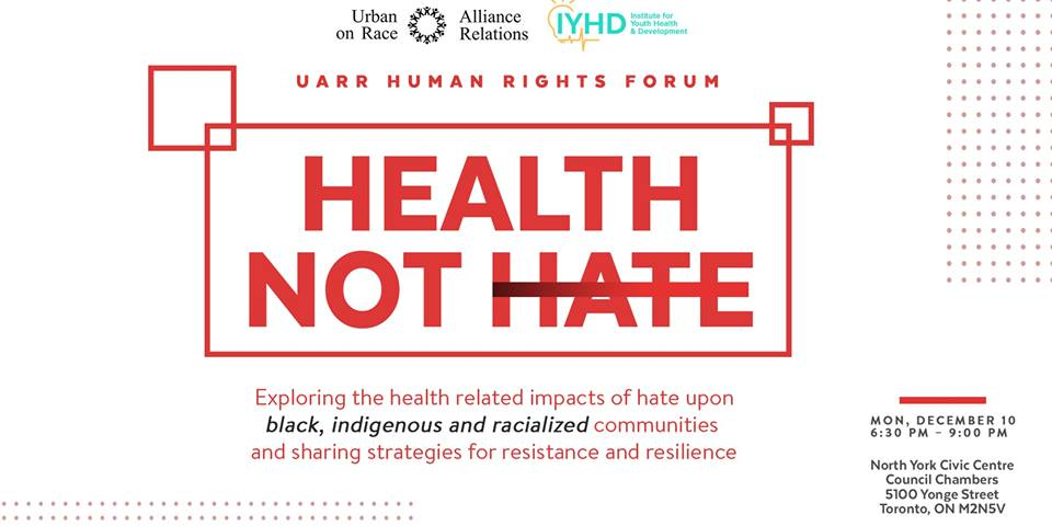 Poster for Health not Hate. Text in article.