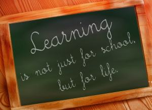 "An elementary-age child has written on a blackboard, ""Learning is not just for school, but for life."""