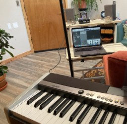 An image inside the office of SoundWell Music Therapy in Longmont shows part of the process of creating recorded resources to help support the mental health and well-being of people in the greater community.