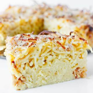 Caramelized Onion Spaghetti Pie | SoupAddict.com
