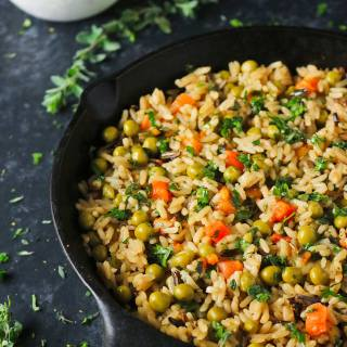 Rice Medley with peas, carrots, and chimichurri sauce | SoupAddict.com