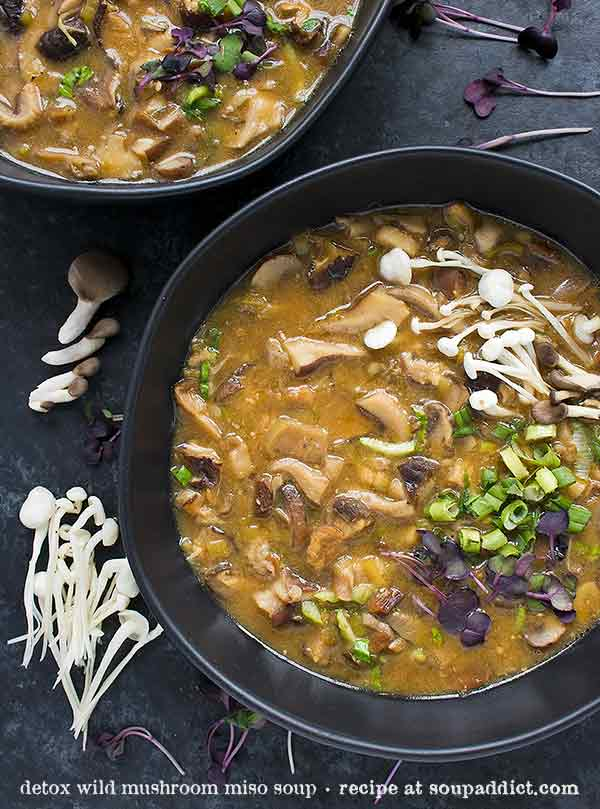 Detox Wild Mushroom Miso Soup - Recipe at SoupAddict.com