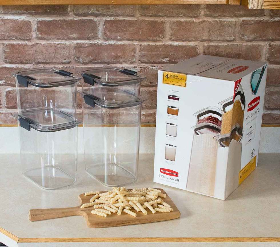 Set of 4 storage containers for SoupAddict's dried goods pantry.