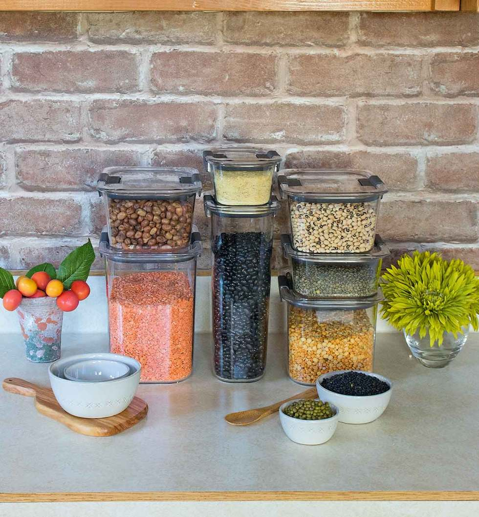 Beans and legumes for storage.