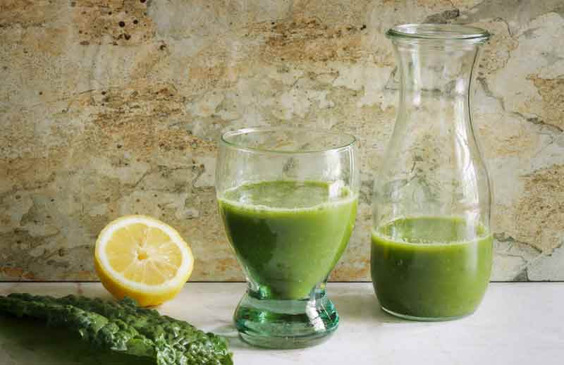 Freshly made green juice in a glass