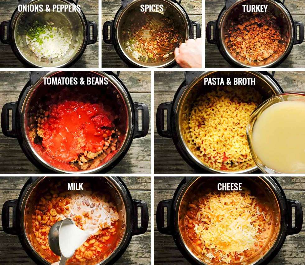 Steps for preparing Instant Pot Chili Mac with Turkey