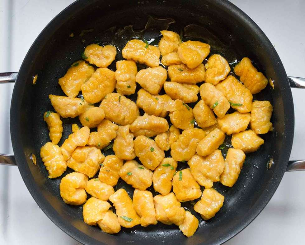 Pan frying the pumpkin gnocchi gives a crispy edge and a pillowy soft interior