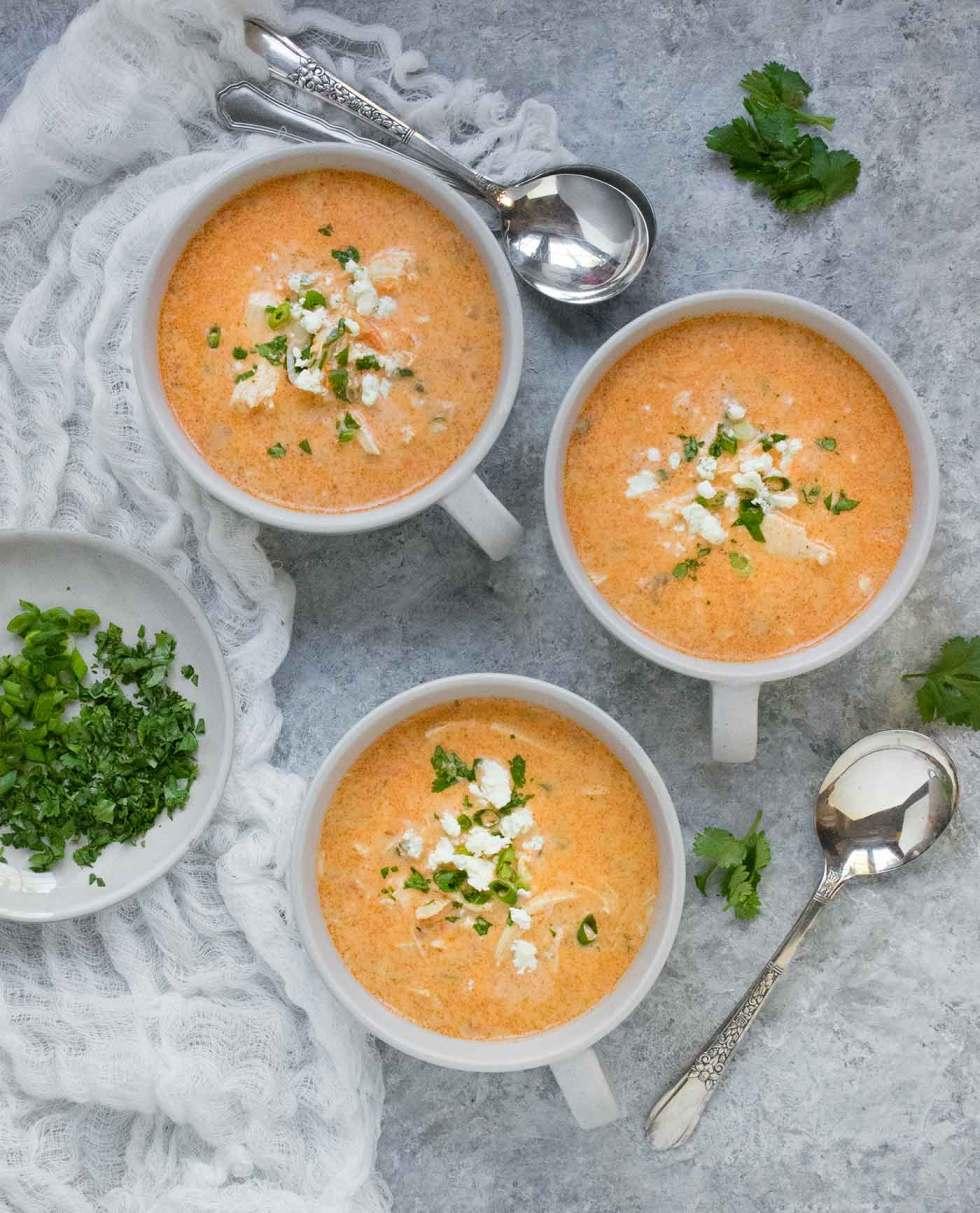 Three soup mugs with Buffalo Blue Cheese Chicken Soup