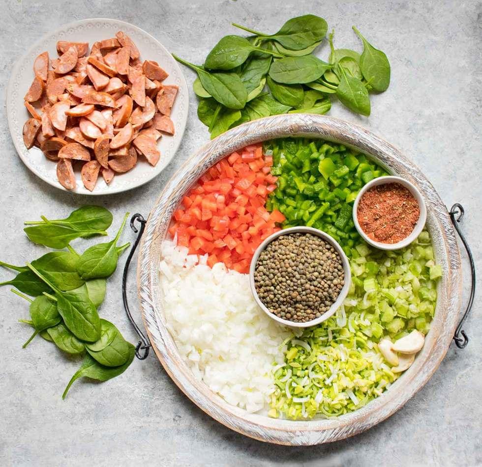 Ingredients for Creole Lentil Soup