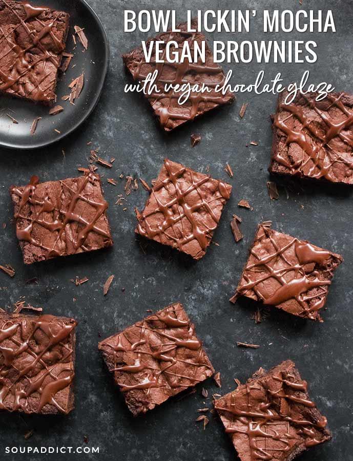 Bowl Lickin' Mocha Vegan Brownies - Recipe at SoupAddict.com