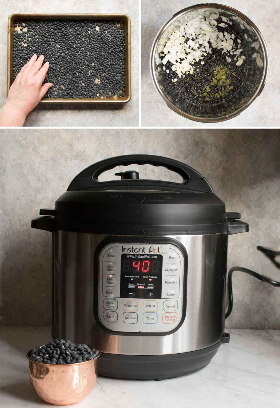 Preparing black beans to cook in the Instant Pot