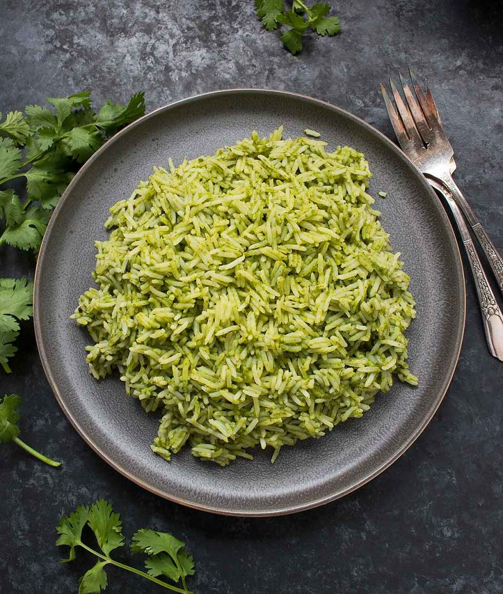 Spicy Green Rice served on a gray plate
