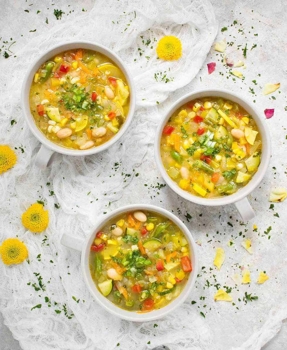 Three bowls of Summer Minestrone