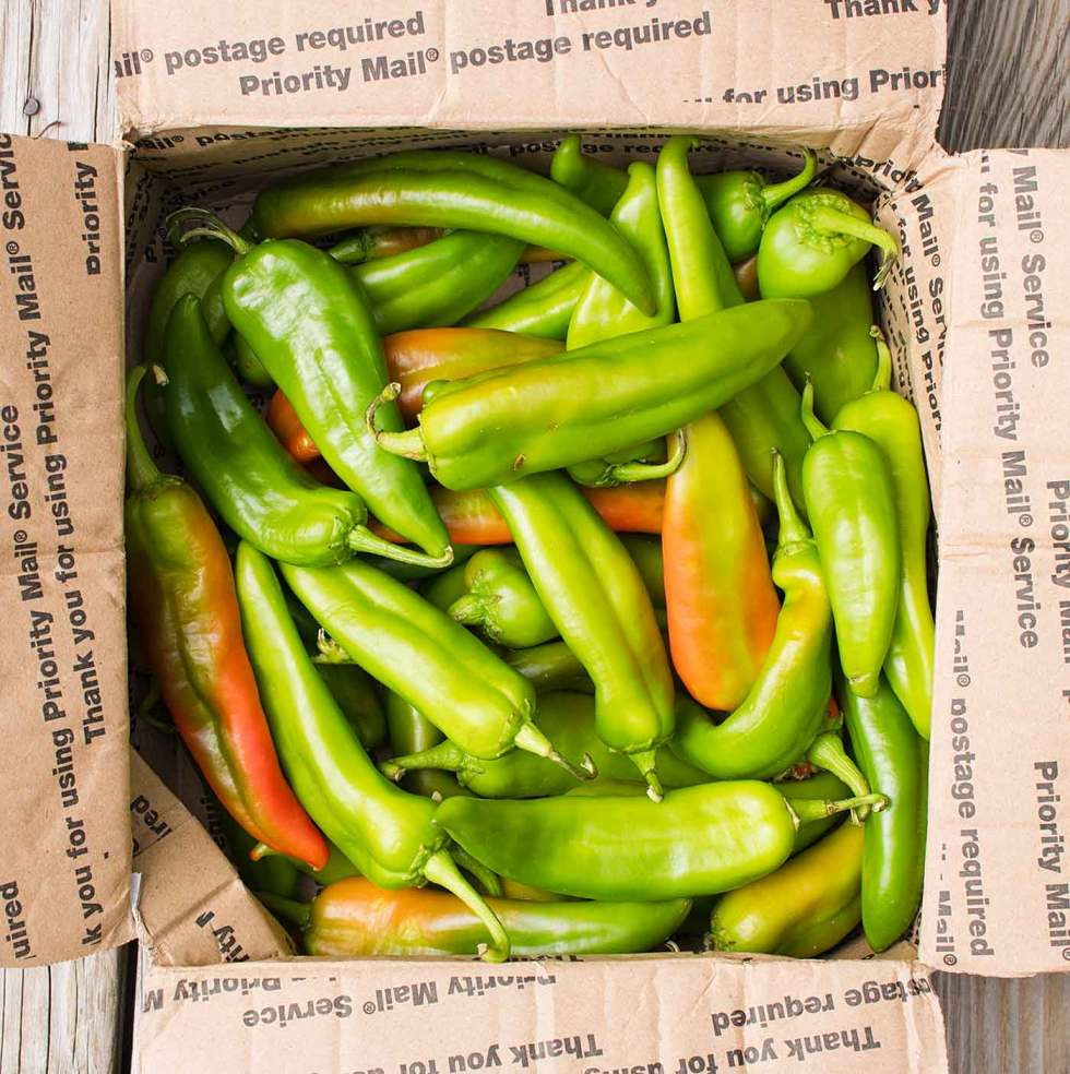 A box of fresh Hatch chiles from New Mexico