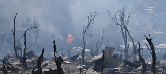Fire destroys Moria Refugee Camp