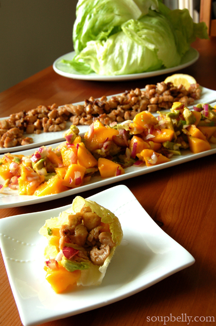 Lettuce Wraps with Chicken and Mango/Avocado Salsa