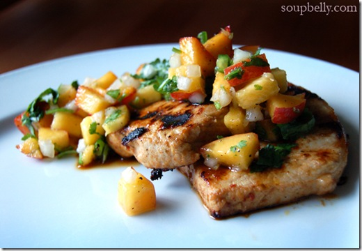 Grilled Lime Chipotle Pork Chops with Nectarine Salsa