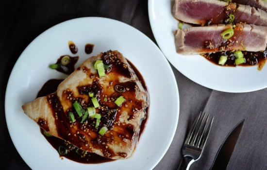 Pan Seared Tuna steak with Soy Glaze