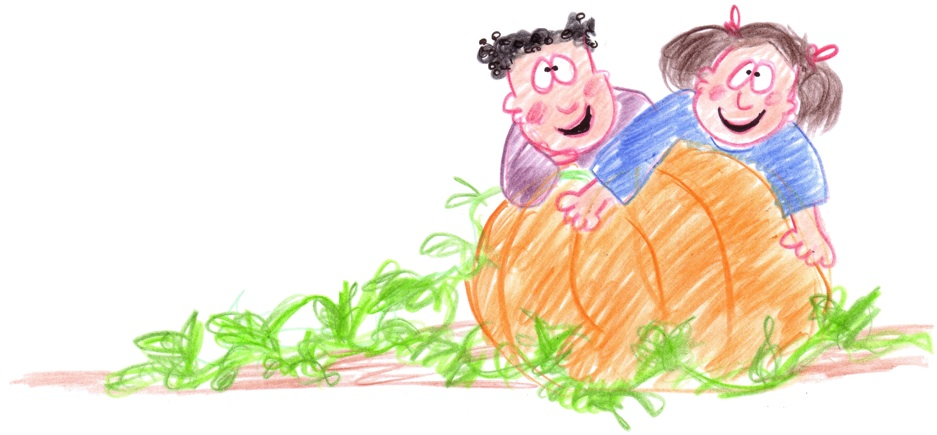 Kids with giant pumpkin