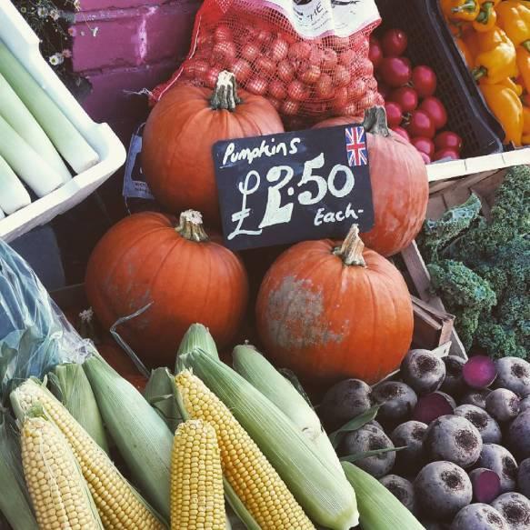 Pumpkins in a greengrocers