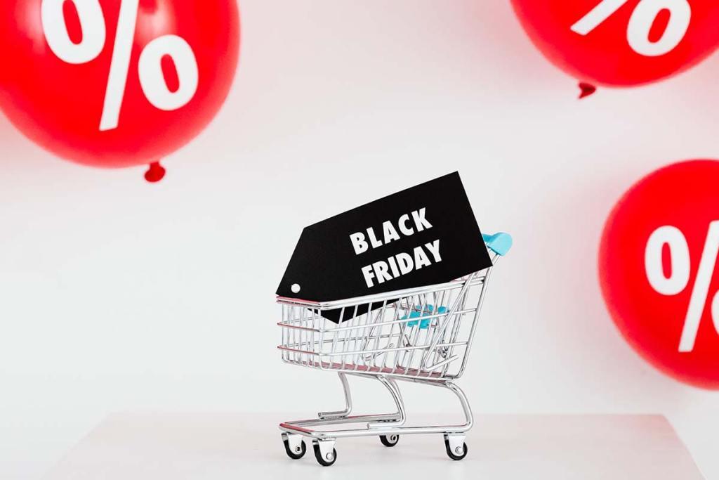 Carrinho de compras em miniatura black friday