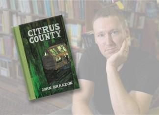 """Alumnus John Brandon's novel, """"Citrus County,"""" was featured in """"The New York Times Sunday Book Review"""" in July 2010. (Background photo: Robert Jordan)"""