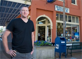"""John Brandon, MFAW '01, is author of the critically acclaimed """"Citrus County,"""" his second novel. Brandon, a visiting professor at Ole Miss, read from """"Citrus County"""" at the nearby Square Books in Oxford, Miss., this past summer. (Robert Jordan)"""