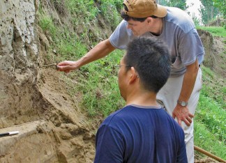 Extensive sampling from the area has convinced Kidder (right) and Liu (left) that they now have a complete and quite comprehensive understanding of the stratigraphy and the general chronology of events in the area. (Courtesy Photo)