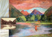 In Entrance to the Tautira River, Tahiti (ca. 1895–1909, Oil on canvas, 53 9/16 x 60 inches; National Gallery of Art, Washington, D.C.), John La Farge used Charles Gustave Spitz' photograph Fisherman at Tautira (active Tahiti 1880s–1890s; Photograph; The J. Paul Getty Museum, Los Angeles) for inspiration.