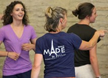 Lisa Race (center), assistant professor of dance, Connecticut College, teaches morning dance technique class in Mélisey. Also pictured are students Leah Cernosek (left), of Hofstra University, and Madi Manson, of Louis & Clark College. (Courtesy Photo)