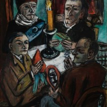 "Max Beckmann, ""Les artistes mit Gemüse (Artists with Vegetable),"" 1943. Oil on canvas, 58 15/16 x 45 3/16"". Mildred Lane Kemper Art Museum, Washington University in St. Louis. University purchase, Kende Sale Fund, 1946."