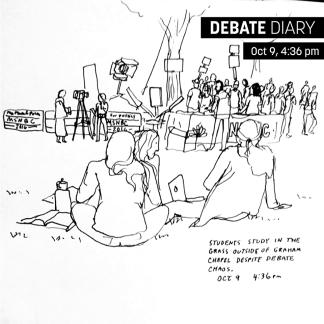 Students study in the grass outside Graham Chapel despite debate chaos. Artist: Kat Bourek