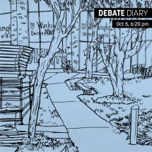 A view of the Athletic Complex days before the debate. Artist: Francesca Maida