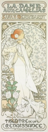 "Alphonse Mucha (Czech, 1860–1939), ""La dame aux camelias (The Lady of the Camelias),"" 1896. Lithograph, 81 3/8 x 29 5/8"" (image). Collection of Mary Strauss."