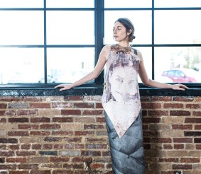 "Sienna Feher of CENTRO Models wears a printed top and skirt by Maximillian Suiter. Titled ""Palimpsest,"" his thesis collection was inspired by assemblage artists such as Joseph Cornell and Kurt Schwitters. (Photo: Jennifer Silverberg/Washington University)"
