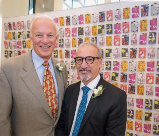 Alumnus Ralph Nagel (left) and his wife, Trish — pictured in the next image — established the Ralph J. Nagel Deanship of the Sam Fox School of Design & Visual Arts. Carmon Colangelo (right) was installed as the first Nagel Dean of the Sam Fox School Nov. 18, 2016. (Joe Angeles/Washington University)