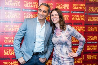 Bassem Youssef and Sara Taksler, AB '01, at the New York premier of Tickling Giants. Courtesy photo