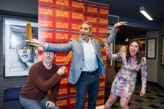 John Oliver, Bassem Youssef, and Sara Taksler at the New York premier of Tickling Giants.