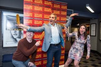 John Oliver, Bassem Youssef, and Sara Taksler at the New York premier of Tickling Giants.